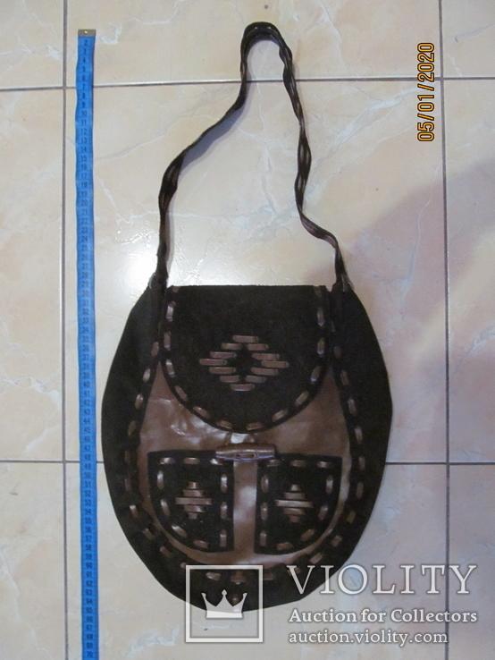 Винтажная кожаная сумка ., фото №2