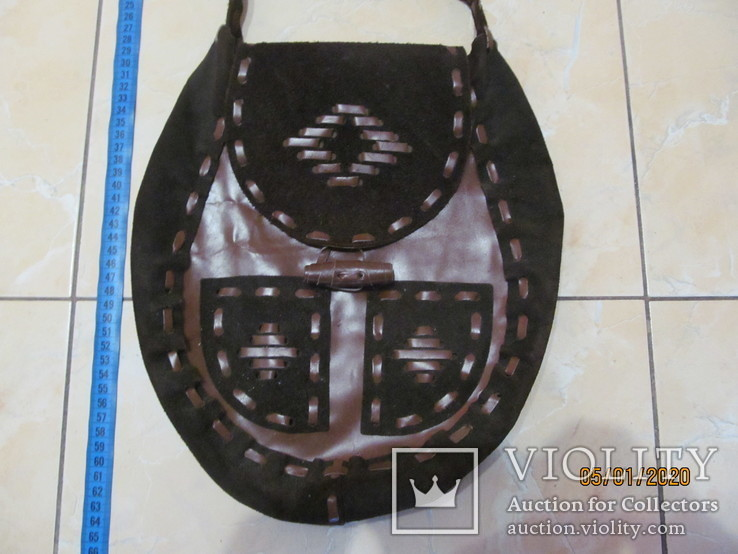 Винтажная кожаная сумка ., фото №3