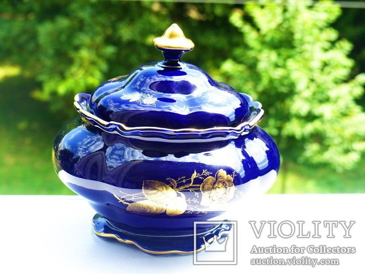 Ваза - фарфор - кобальт Германия - Cobalt   - Lindner, фото №6