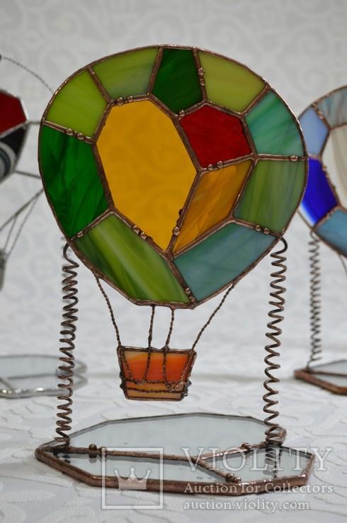 Витраж подсвечник воздушный шар., фото №2