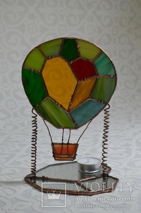 Витраж подсвечник воздушный шар., фото №3