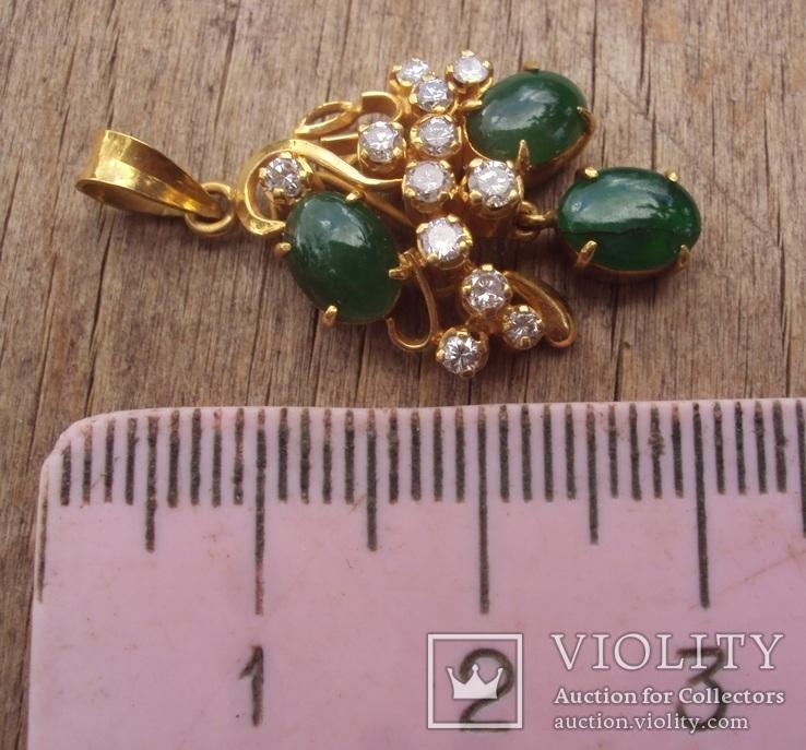 Золотой кулон с нефритом и бриллиантами., фото №3