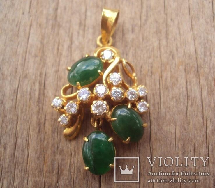 Золотой кулон с нефритом и бриллиантами., фото №5