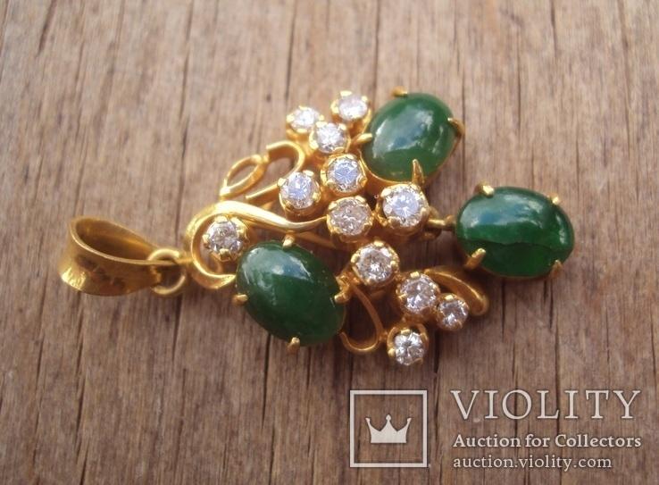 Золотой кулон с нефритом и бриллиантами., фото №6