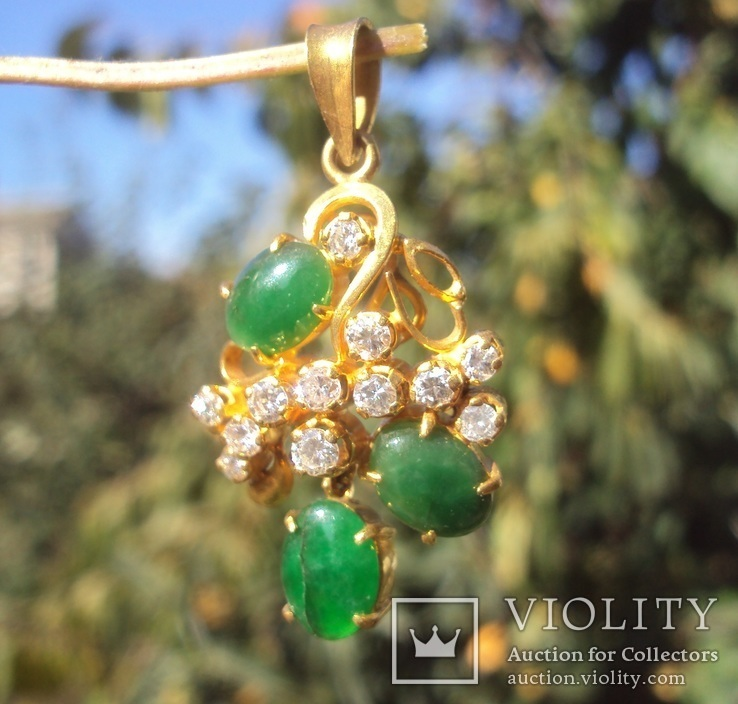 Золотой кулон с нефритом и бриллиантами., фото №10