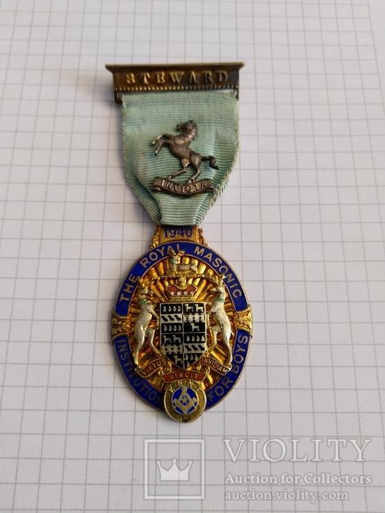 Масонский знак STEWARD. Серебро. 1940 год., фото №2