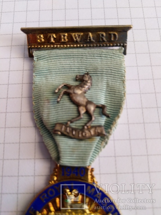 Масонский знак STEWARD. Серебро. 1940 год., фото №4
