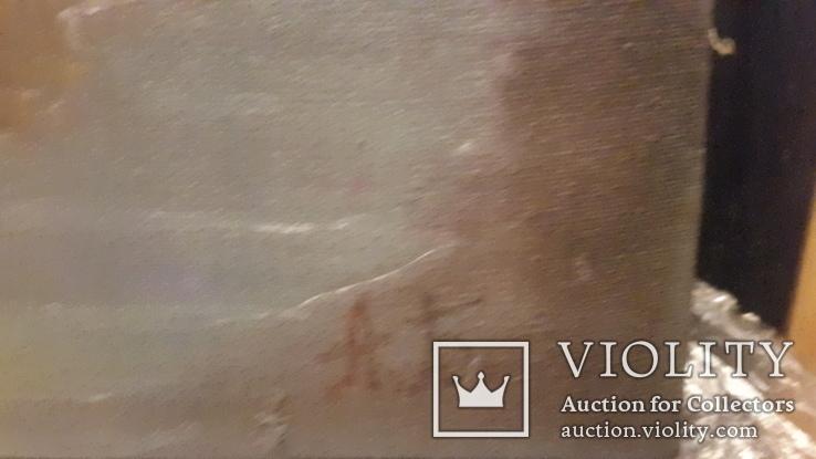 Старая картина Морской пейзаж с подписью автора, фото №5
