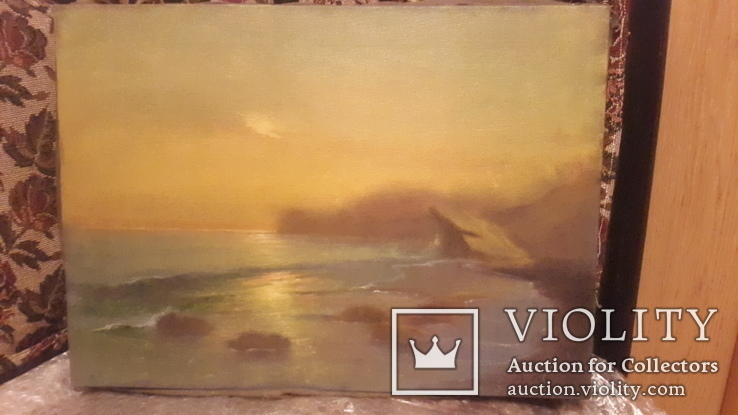 Старая картина Морской пейзаж с подписью автора, фото №6