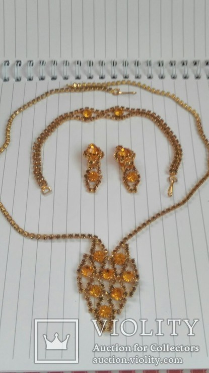 Комплект:Колье,браслет,клипсы.Чехословакия., фото №2