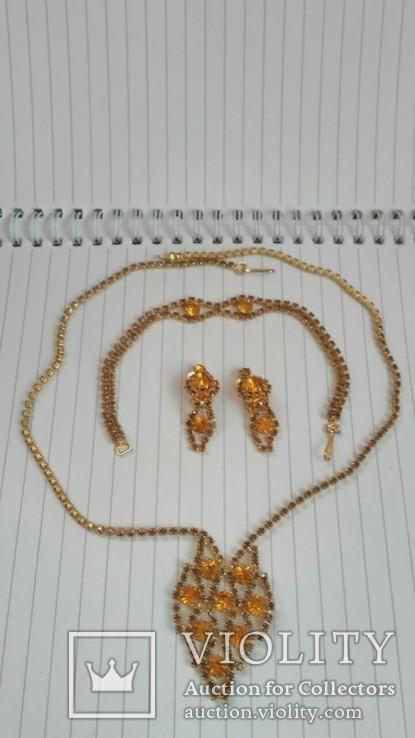 Комплект:Колье,браслет,клипсы.Чехословакия., фото №6
