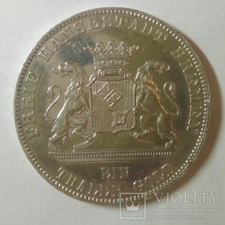 Германские госудорство 1 немецкий талер 1865-B, фото №2