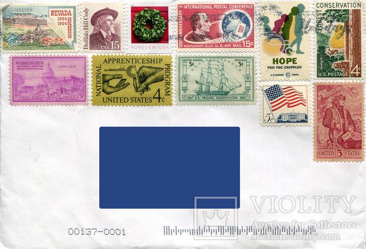 Прошедший почту конверт США архитектура винтаж природа