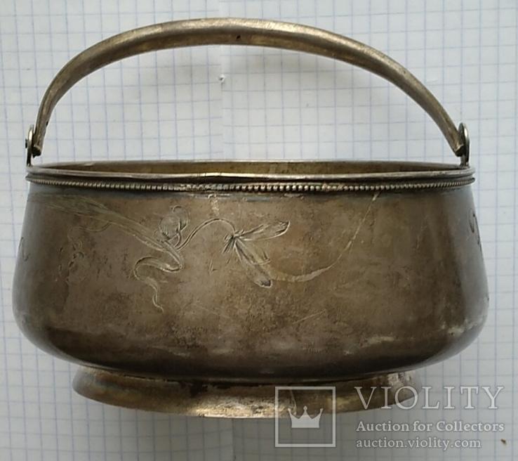 Конфетница №2 периода Царской России. Серебро 84 пробы., фото №4