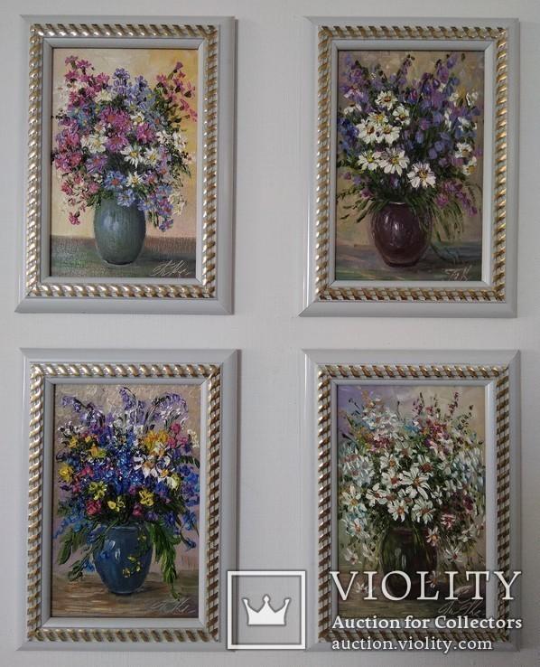 Картина натюрморт цветы 4 в 1 лоте авто Короткова Т Г 10х15 см масло двп
