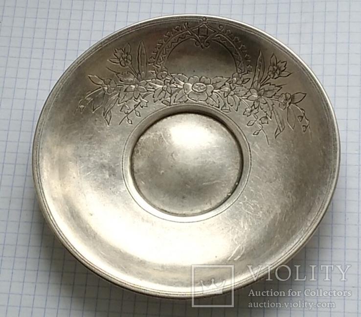 Блюдце периода Царской России, 84 проба, Милюковъ., фото №2