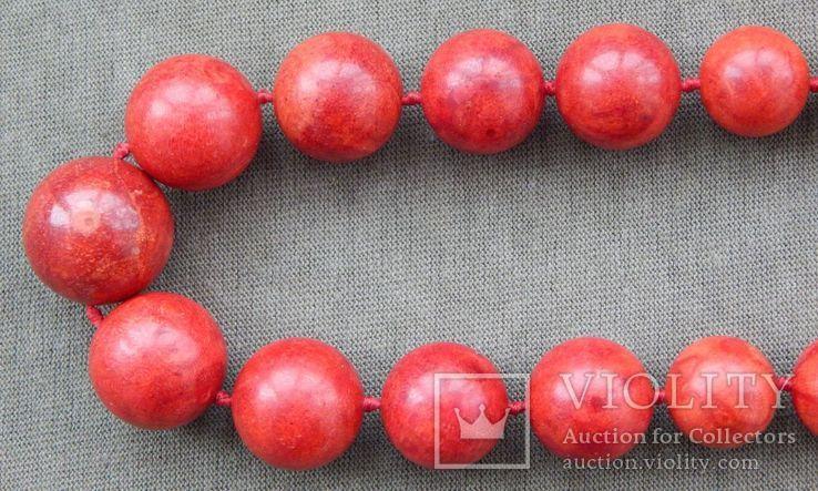 Бусы коралловые 119 грамм, шары, Европа, 1950-1960 г.в., фото №4