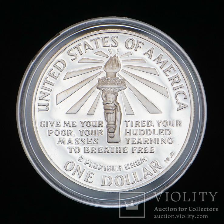 1 Доллар 1986 100 лет Статуе Свободы (Серебро 0.900, 26.73г), США ПРУФ, фото №3