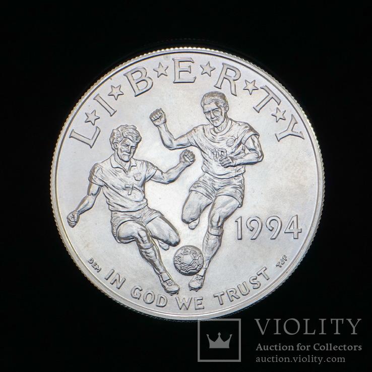 1 Доллар 1994 Футбол (Серебро 0.900, 26.73г), США, фото №2