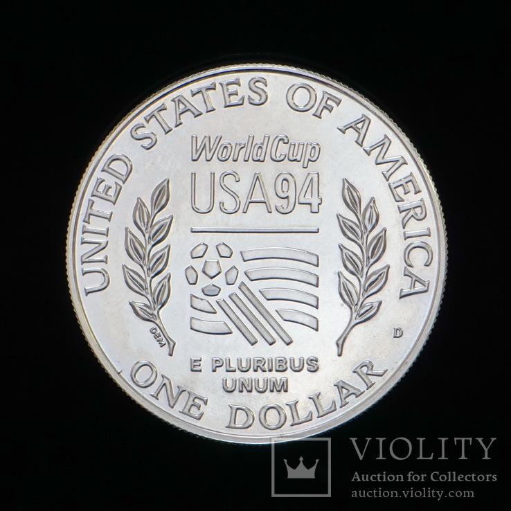 1 Доллар 1994 Футбол (Серебро 0.900, 26.73г), США, фото №3