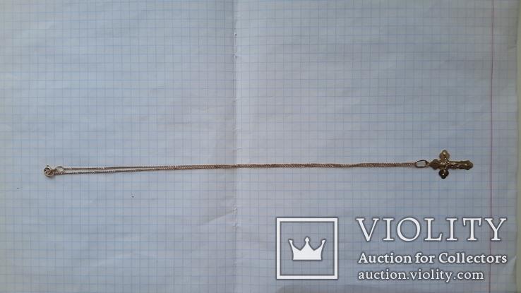 Цепочка+крестик,585°,вес 2,47 г., фото №9