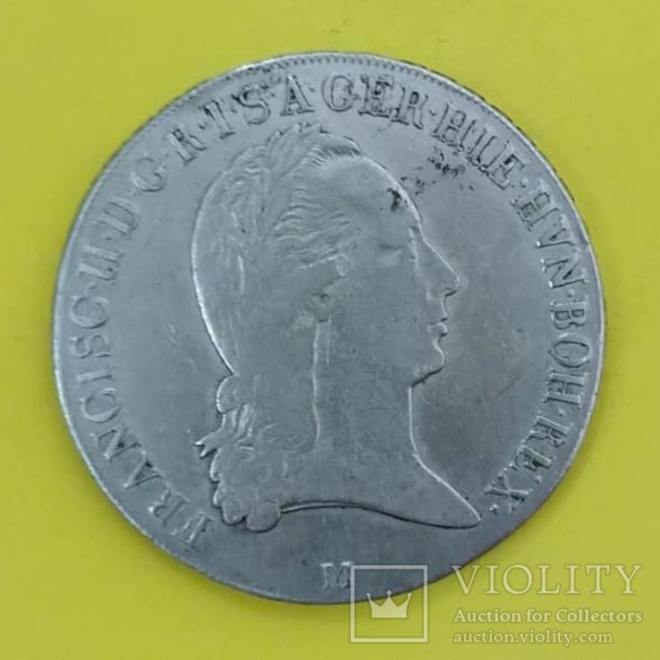 Миланское герцогство (Австрия, Франц II) 1 крочионе, кроненталер 1796 М серебро КМ-239 VF, фото №2