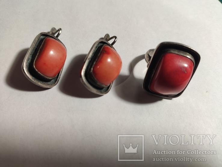 Сережки и кольцо коралл, фото №2