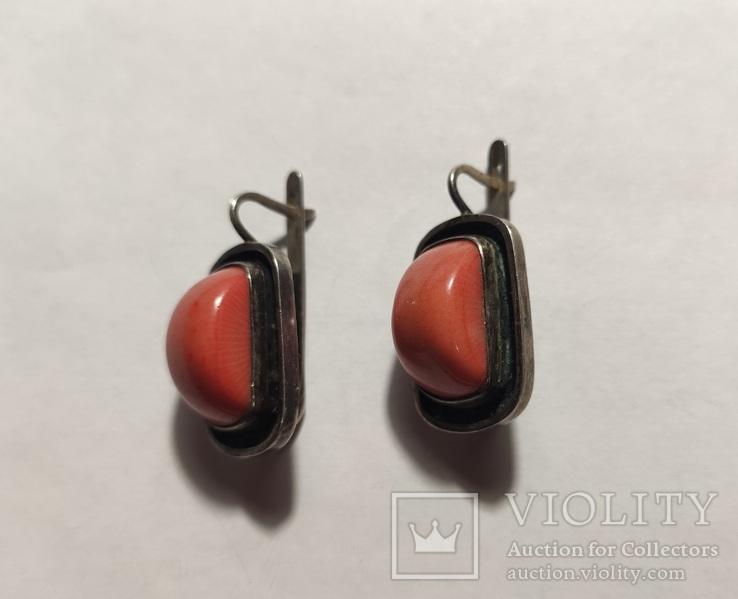 Сережки и кольцо коралл, фото №5