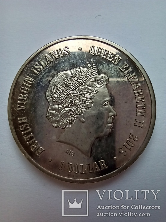 1 доллар 2015 зеркальная - Новосибирский зоопарк, Британские Виргинские острова (реплика), фото №3