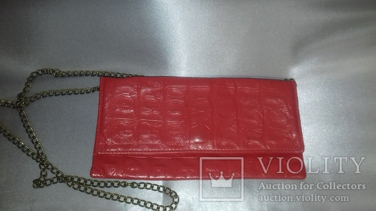Кораллового цвета крокодиловая сумка Англия винтаж, фото №2