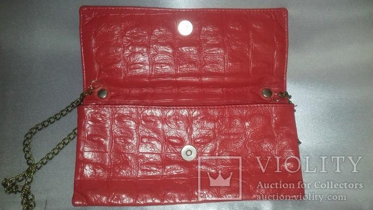 Кораллового цвета крокодиловая сумка Англия винтаж, фото №5