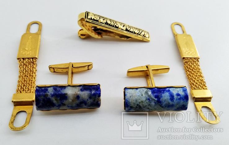 Запонки Олимпиада позолота, камень Лазурит + зажим для галстука. СССР., фото №11