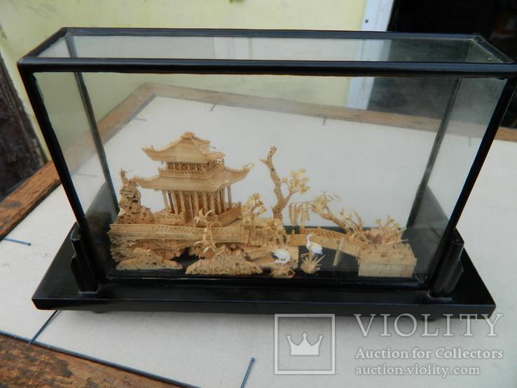 Пано - діорама китайська мініатюра, ручна робота ( коркове дерево ), фото №2
