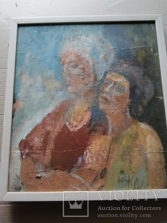 """""""Изгнание.."""" к.м. 44х38 см.,1982г.,Лариса Жданова, фото №12"""