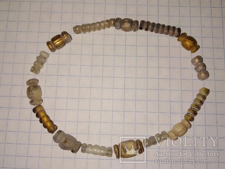 Золотистые серебристые античные бусы., фото №2