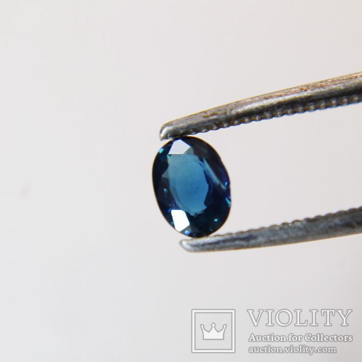 Австралийский сапфир 0.295ст 4х3х1.2мм хороший цвет, фото №2