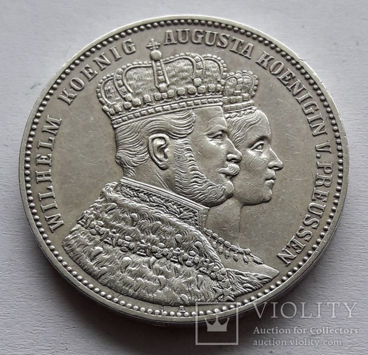 1 талер, 1861 Коронация Вильгельма I и Августы, фото №2