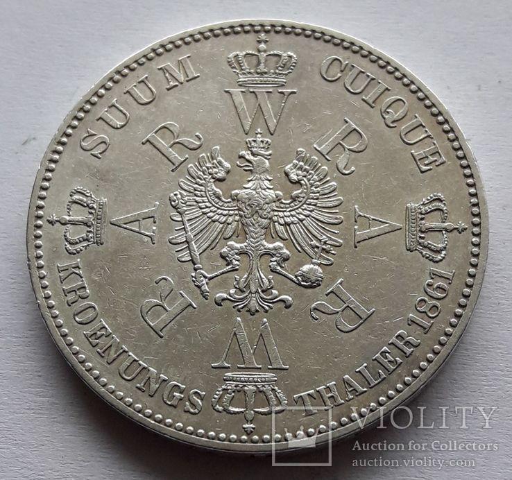 1 талер, 1861 Коронация Вильгельма I и Августы, фото №3