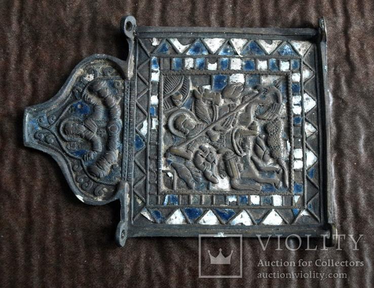 Часть складня Чудо Георгия о змие. 11 Х 8,5см, фото №3