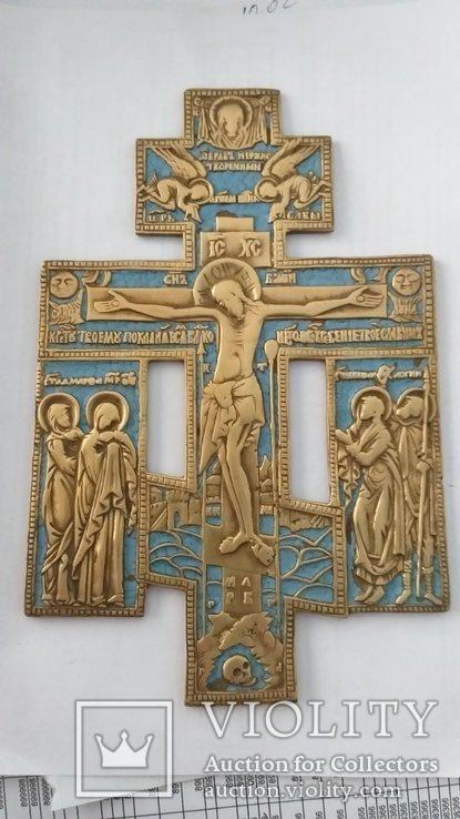Киотный крест в эмалях, фото №2