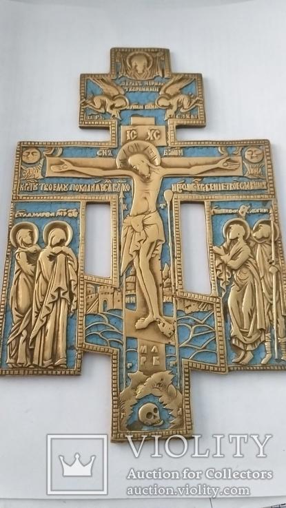 Киотный крест в эмалях, фото №3