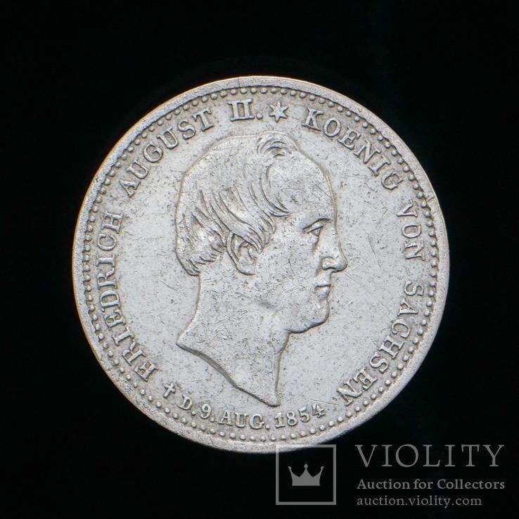 1/6 Талера 1854 Посмертный, Саксония, фото №2