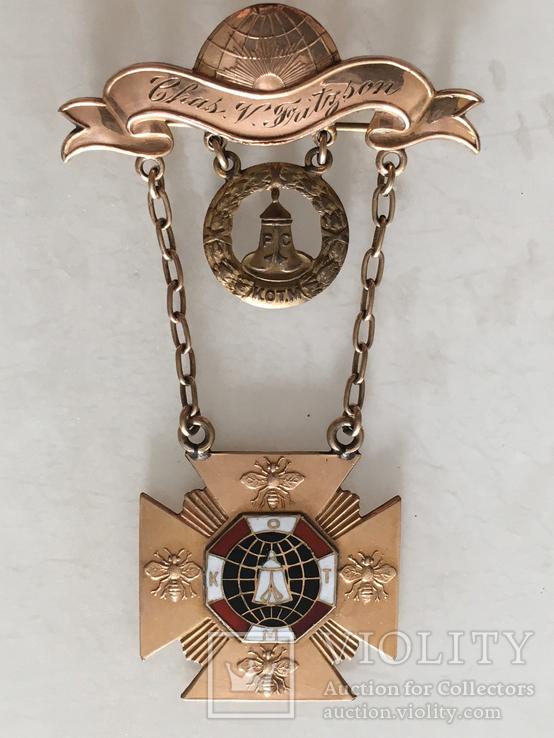 Масонская награда,орден, знак 1908-10г. 14к позолота, фото №2