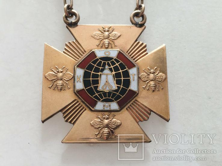 Масонская награда,орден, знак 1908-10г. 14к позолота, фото №3