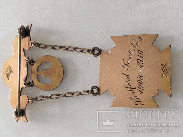 Масонская награда,орден, знак 1908-10г. 14к позолота, фото №6