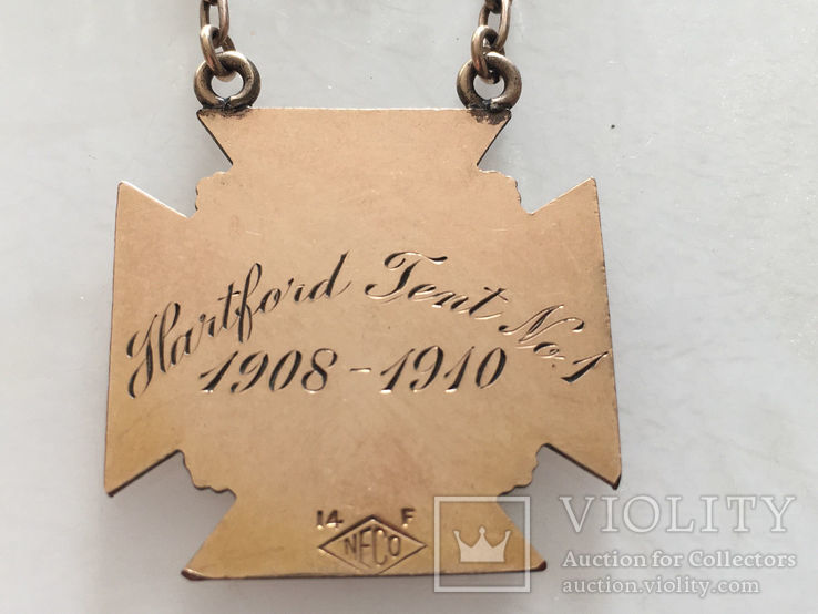 Масонская награда,орден, знак 1908-10г. 14к позолота, фото №7