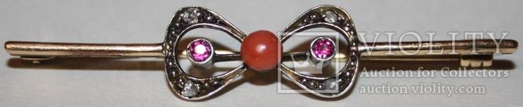 """Золотая брошь 56 проба.,"""" КФ"""" с природными алмазами,рубинами и кораллом, фото №7"""