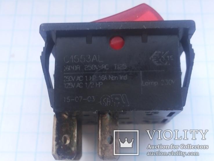 Переключатель клавишный 16A 3 pin Arcolectric С1553AL инд 1 шт, фото №4