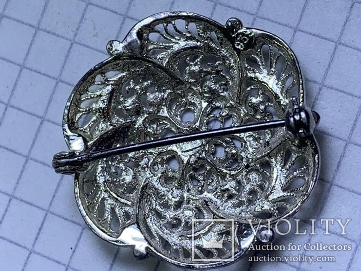 Винтажная круглая серебряная брошь, фото №4