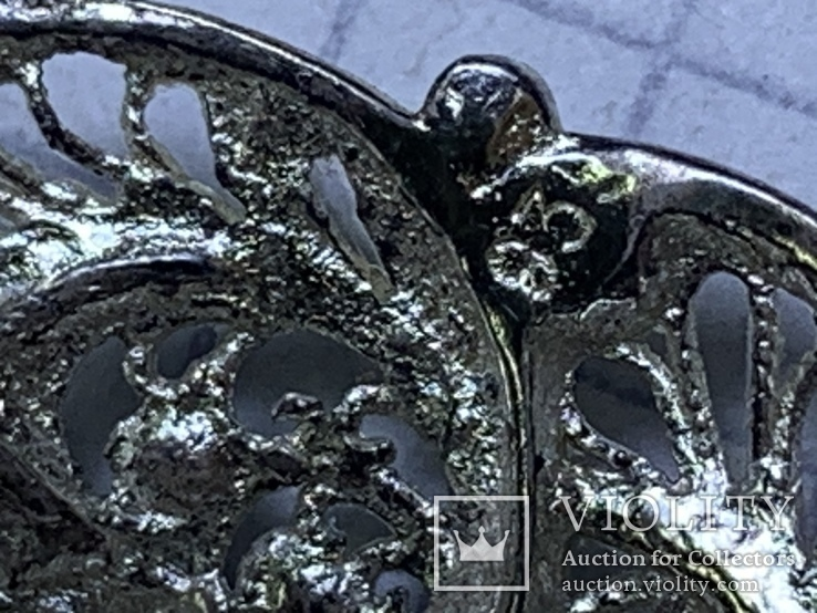 Винтажная круглая серебряная брошь, фото №6
